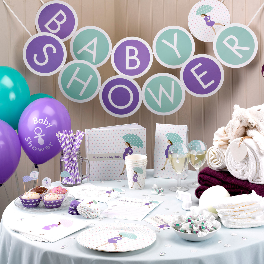 Baby shower tableware baby eles baby shower showered with love negle Images