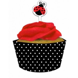 A Pack of Ladybird Cupcake Wraps & Picks