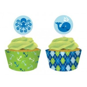 A Pack of Ocean Boy Cupcake Wraps & Picks