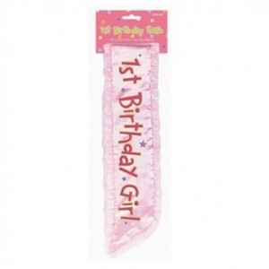 1st Birthday Girl Pink Sash