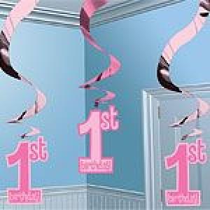 1st Birthday Pink Swirl Decorations