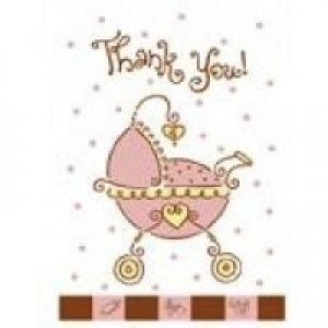 A Baby Joy Pink Thank You Card