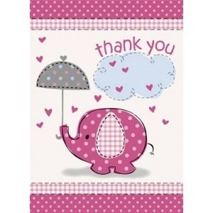 Girl Umbrellaphants Thank You Card