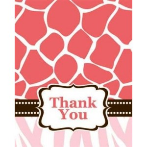 Pink Wild Safari Thank You Card