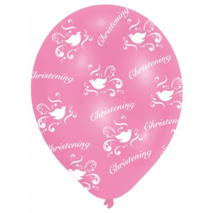 6 Pink & White Christening Latex Balloons