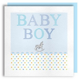Baby Boy Rocking Horse Charm Card