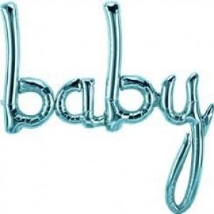 Baby blue script foil balloon