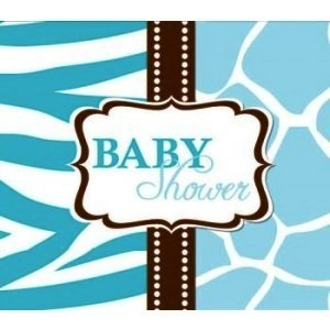 A Blue Wild Safari Baby Shower Invitation