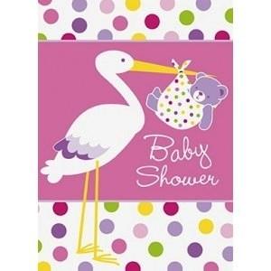 Baby Girl Stork Invitations - pack of 8