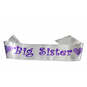 Big Sister Sash White and Purple