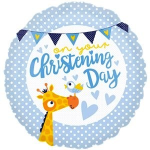 Christening Day Blue Foil Balloon