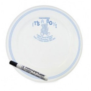 Personalised It's A Boy Teddy Signing Plate