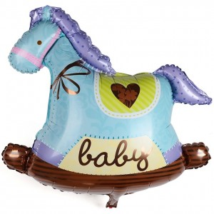 Blue Rocking Horse Super Shape Foil Balloon