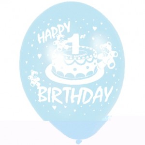 Six 1st Birthday Blue & White Printed Balloons
