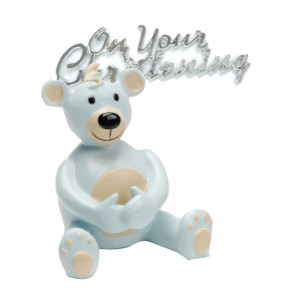 Boy Christening Teddy Cake Decoration