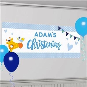 Christening Day Blue Personalised Banner