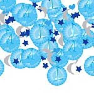 CHRISTENING BOOTIES BLUE CONFETTI