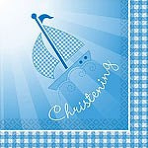 CHRISTENING BOOTIES BLUE NAPKINS
