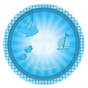 CHRISTENING BOOTIES BLUE PLATES