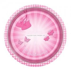 Christening Booties Pink Plates