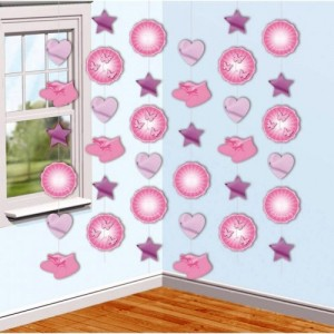 Christening Booties Pink String Decoratio