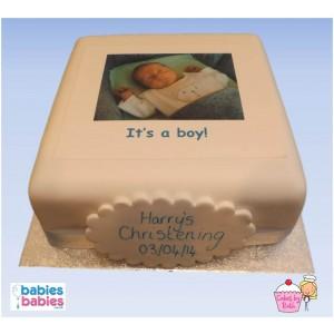 christening photo cake