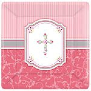 Communion Blessings Pink Paper Plates