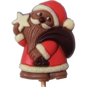 A Chocolate Santa Lollipop with Personalised Label