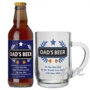 Personalised Blue Wheat Beer & Tankard Set
