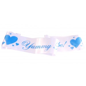 A Yummy Mummy To Be Satin Sash White/Blue