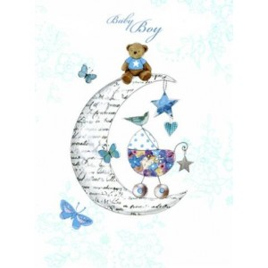 Baby Boy In Moon Card