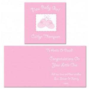 Baby Girl Personalised Bootie Greeting Card