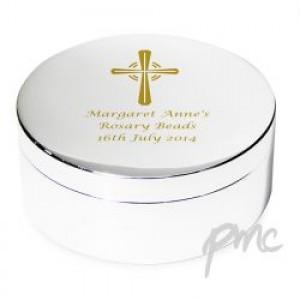 Gold Cross Rosary Bead Trinket Box