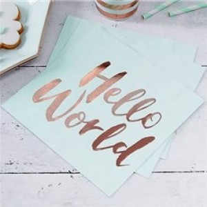 Hello World Napkins pack of 20