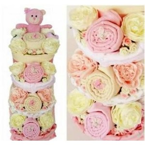 Bouquet Baby Nappy Cake - Blue, Pink or Cream