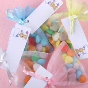 Coloured sweets in Organza Bags