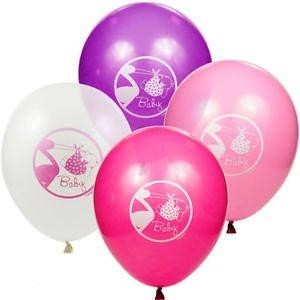 Baby Girl Stork Latex Balloons