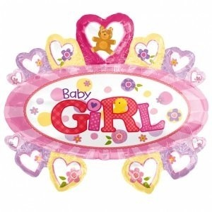 Giant Baby Girl Heart Cluster Foil Balloon