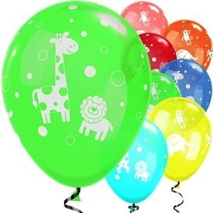 Cute & Cuddly Jungle Animals pack of 6 latex balloons