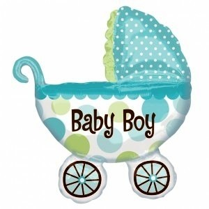 A Giant Baby Boy Pram Foil Balloon