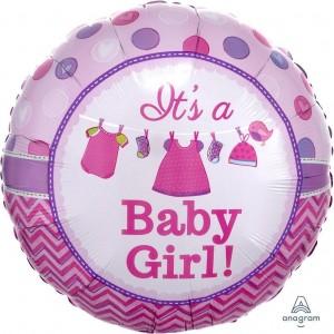 baby girl clothes line foil balloon