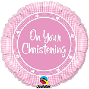 On your Christening Baby Girl Foil Balloon
