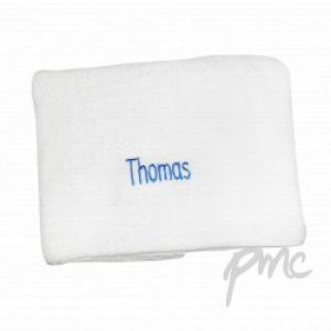 A White Personalised Towel with Blue Embroidery