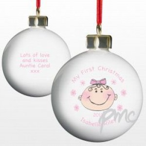A Personalised Baby Girl's 1st Christmas Bauble