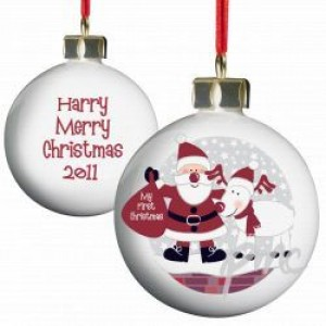 A Personalised Santa & Rudolph 1st Christmas Bauble