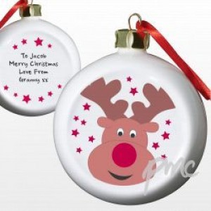 A Personalised Cute Reindeer Tree Bauble