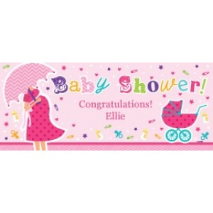 Personalised Baby Shower Banner - Pink
