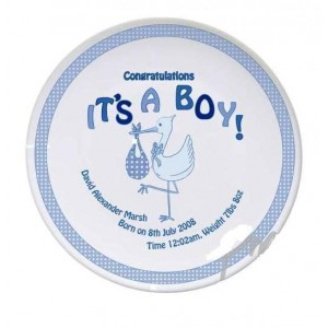 Personalised Stork It's a Boy Plate