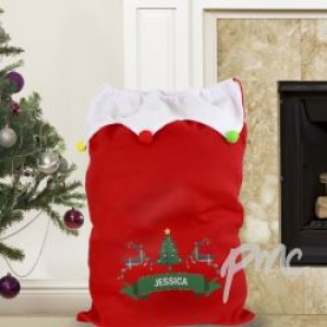 Personalised Nordic Christmas Pom Pom Sack
