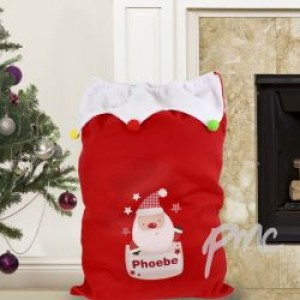 Personalised Pocket Santa Pom Pom Sack